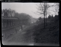 View of the evacuation train headed from Bergen-Belsen to Theresienstadt and liberated by the Americans near Farsleben